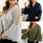 Women Casual Hollow Out Long Sleeve Knit Blouse Shirts V Neck Sweater Plus Size