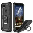 For Google Pixel 3a /XL Hybrid Ring Magnetic Case Cover+Glass Screen Protectotor