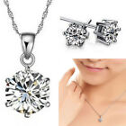 925 Silver Wedding Jewelry Set Bridesmaid Crystal Necklace Earrings Jewellery UK