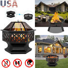 Fire Pit Patio Garden Heater Outdoor BBQ Camping Bonfire Pits Burning Charcoal