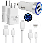 For ZTE Zmax Pro Z982 Blade X Max XL Z983 Axon 7 Fast USB Car Wall Charger Cable