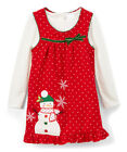 NWT Nannette Snowman Red Jumper Dress & Shirt Girls Christmas Outfit Set