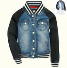 NWT TOMMY HILFIGER Girls Blue Denim Baseball Bomber Jacket  Size S, M, L NEW
