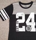 JUNIOR SIZE XL Women BOSTON BRUINS T-SHIRT Charcoal-Gray 1924 24 Striped Sleeve $8.99 USD on eBay