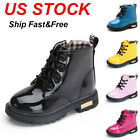 Kids Boys Girls Martin Shoes Winter Warm Lace Up Fur Lined Bovver Ankle Boots