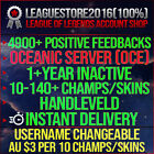 League Of Legends Account Lol Oce Unranked Lvl 30 All Champs Smurf Skins Acc Be