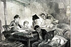 Child Labor Laws Violation CHILDREN STRIPPING TOBBACO in NYC 1888 Matted Print