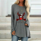 Womens Xmas Pullover Jumper Sweatshirt Ladies Plus Size Reindeer Tops Blouse