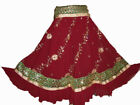 MAROON Bollywood Dancing Skirt Sequin Embroidered Belly Dancing Tribal Skirt