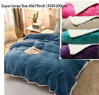 Solid Warm Sherpa Throws Sofa Bed Fleece Blanket Cozy Double Mink Christmas Gift