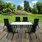 Table & Chairs Set Outdoor Garden Patio Black Furniture Glass Table Parasol Base