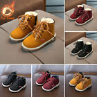 Kid Boys Girls Ankle Boots Martin Shoes Soft Winter Warm Lace Up Fur Lined Shoes