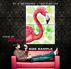 00762 PINK FLAMINGO GREEN LEAF BACKGROUND LAMINATED POSTER DE