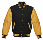 Varsity Letterman Bomber baseball Vintage Retro Black Wool & Gold Leather sleeve