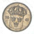 Roughly Size of Dime 1941 Sweden 10 Ore - World Silver Coin *109