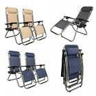 1 Pair Zero Gravity Lounge Chairs Recliner + Utility Tray Outdoor Beach Patio