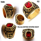 Men's US Military Ring Garnet Stainless Steel Gold/Silver Army Rings Size 8-15