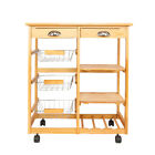 Wooden Rolling Kitchen Island Trolley Cart Table W/ Storage Drawer & Shelves
