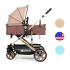 Luxury Baby Stroller Pushchair Folding Carriage with Infant Basket Car Seat US