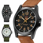 Men's Sport Quartz Date Nylon Strap Army Military Wrist Watches Canvas Wristband image
