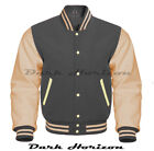 Varsity Bomber Letterman Baseball Dark Gray Wool & Cream Leather Sleeves jacket