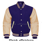 Varsity Bomber Letterman Baseball Navy Wool & Cream Leather Sleeves jacket