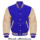Varsity Bomber Letterman Baseball Royal Blue Wool & Cream Leather Sleeves jacket