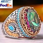 Kyпить Turkish Handmade 925 Sterling Silver Tourmaline and Turquoise Heavy Mens Ring  на еВаy.соm