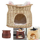 Wicker Pet Bed Cat Puppy Small Dog Basket Pod Two Tier Cushion Raised Play House