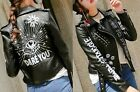 Women Biker Black Synthetic Leather Jacket Dare You tough girl dominatrix style