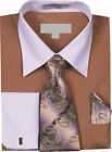 Men's Solid Dress Shirt Tie Hanky Set with White Collar French Cuffs