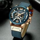 CURREN Casual Sport Watches for Men Blue Top Brand Luxury Military Leather Wrist image