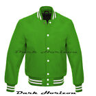 New Varsity Letterman Vintage Baseball Kelly Green All Wool Bomber style Jacket