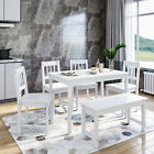 Dining Table and Chairs Bench Set 6 Seat Quallty Wooden Cholce Dining Room White