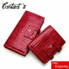 Contact's Genuine Leather Women Wallet Zipper Coin Purse Long Walet Cell Phone image