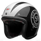 Bell Custom 500 Ace Cafe 59 Open Face Motorcycle Helmet Black/White $169.95 USD on eBay
