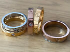 Ladies New Love Screw Ring Gold Silver Rose Gold Crystal Wedding Band Uk Stock