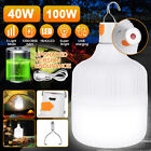 100W/40W LED Camping Light USB Rechargeable Outdoor Tent Lantern Hiking Lamp USA