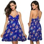 FINEJO Ladies Women Sexy Strap V-Neck High Waist Floral Slim Casual Club EH7E 01