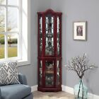 Cherry/ Walnut Canted Front Lighted Corner Cabinet W/ 5-Tier Shelves