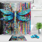 Colorful Painted Graffiti Dragonfly Fabric Shower Curtain Set Bathroom Decor 72""