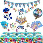 SHARK BIRTHDAY PARTY DECORATION TABLE COVER PLATES CUPS NAPKINS BALLOONS