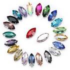 Eye Rugby Glass Crystal Rhinestones Beads lot Sew on Gold/Silver Flat-back Claw