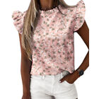 Womens Ruffle Short Sleeve T Shirts Ladies Casual Daily Blouse Summer Shirt Tops