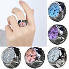 Classic Womens Mens Steel Round Dial Quartz Analog Elastic Finger Ring Watch image