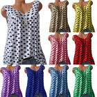 Women Plus Size Sleeveless Polka Dot Tank Tops T-Shirt Summer Loose Vest Blouse