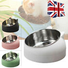 Pet Cat Bowl Stainless Steel Food Water Feeder 15 Degree Tilted Neck Protection