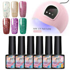 7Pc/Kit MAD DOLL Glitter UV Gel Nail Polish Soak Off LED 54W UV Lamp Nail Dryer