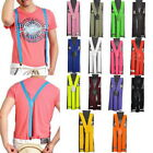 US Unisex Elastic Y-Shape Braces Mens Womens Clip-on Suspenders Adjustable V/I