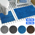 Soft Microfiber Bathroom Bath Mat Absorbent Non-slip Rubber Backing Rugs 2pc Set
